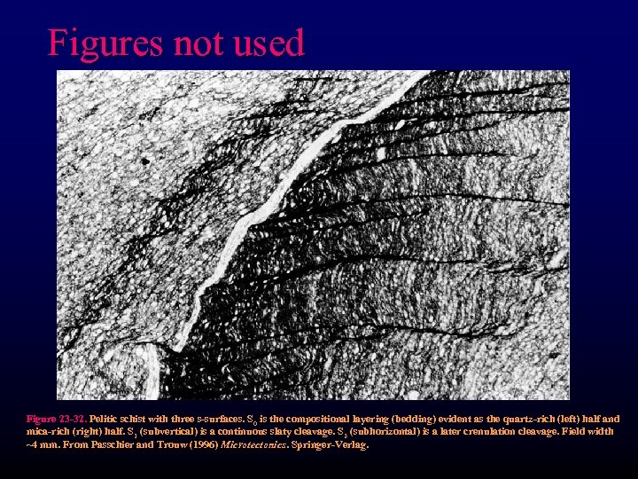 Figures not used Figure 23 -32. Pelitic schist with three s-surfaces. S 0 is