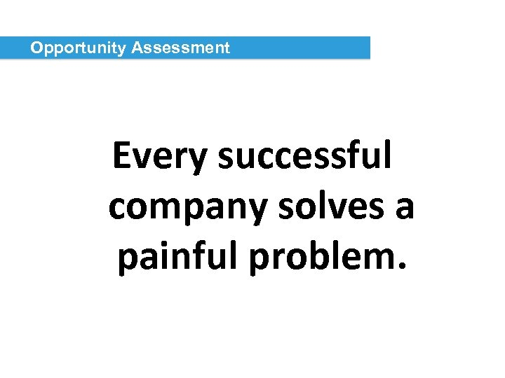 Opportunity Assessment Every successful company solves a painful problem.
