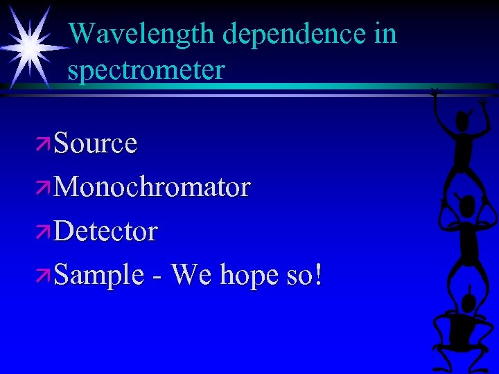Wavelength dependence in spectrometer ä Source ä Monochromator ä Detector ä Sample - We