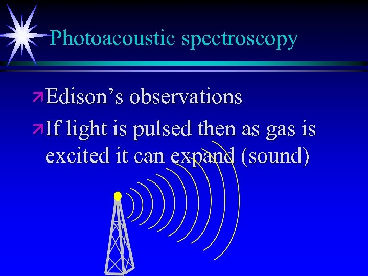 Photoacoustic spectroscopy ä Edison's observations ä If light is pulsed then as gas is