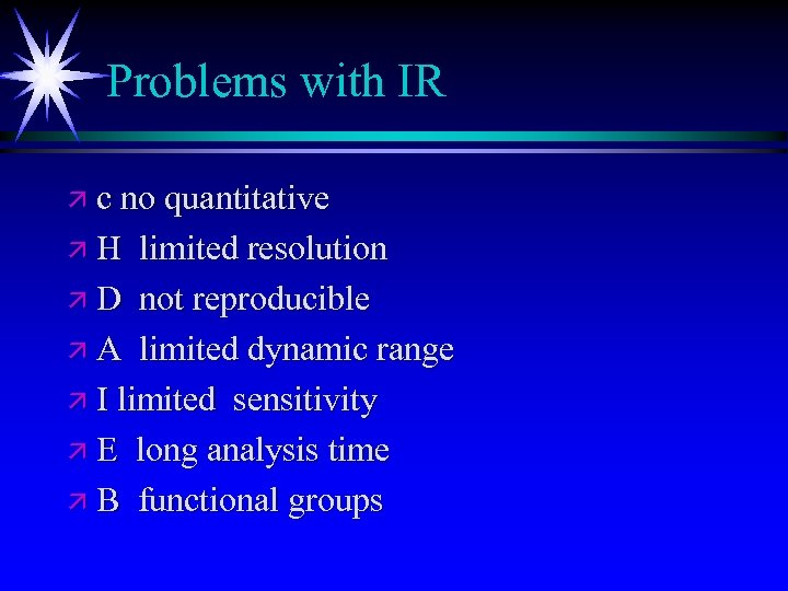 Problems with IR ä c no quantitative äH limited resolution ä D not reproducible