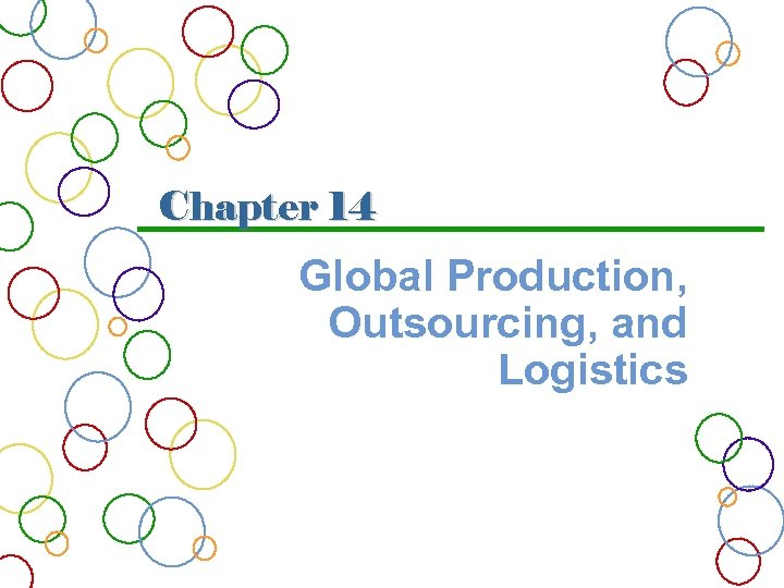 Chapter 14 Global Production, Outsourcing, and Logistics