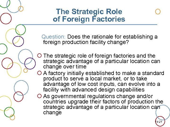 The Strategic Role of Foreign Factories Question: Does the rationale for establishing a foreign