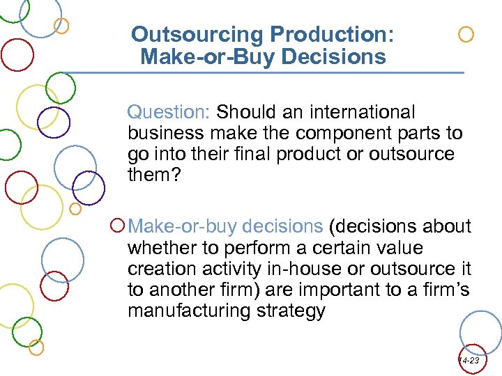 Outsourcing Production: Make-or-Buy Decisions Question: Should an international business make the component parts to