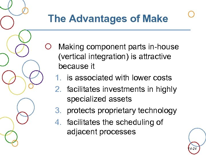 The Advantages of Make Making component parts in-house (vertical integration) is attractive because it
