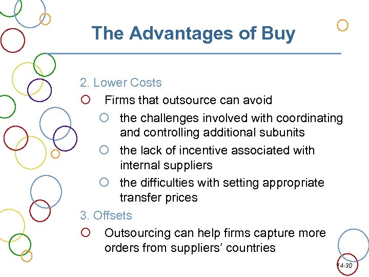 The Advantages of Buy 2. Lower Costs Firms that outsource can avoid the challenges