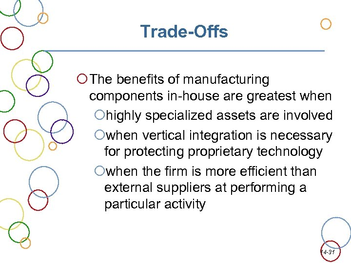Trade-Offs The benefits of manufacturing components in-house are greatest when highly specialized assets are