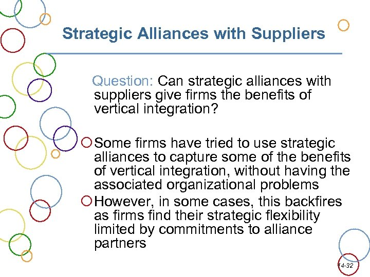 Strategic Alliances with Suppliers Question: Can strategic alliances with suppliers give firms the benefits
