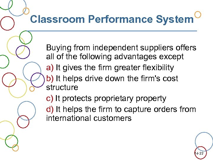 Classroom Performance System Buying from independent suppliers offers all of the following advantages except