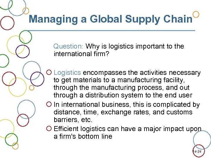 Managing a Global Supply Chain Question: Why is logistics important to the international firm?