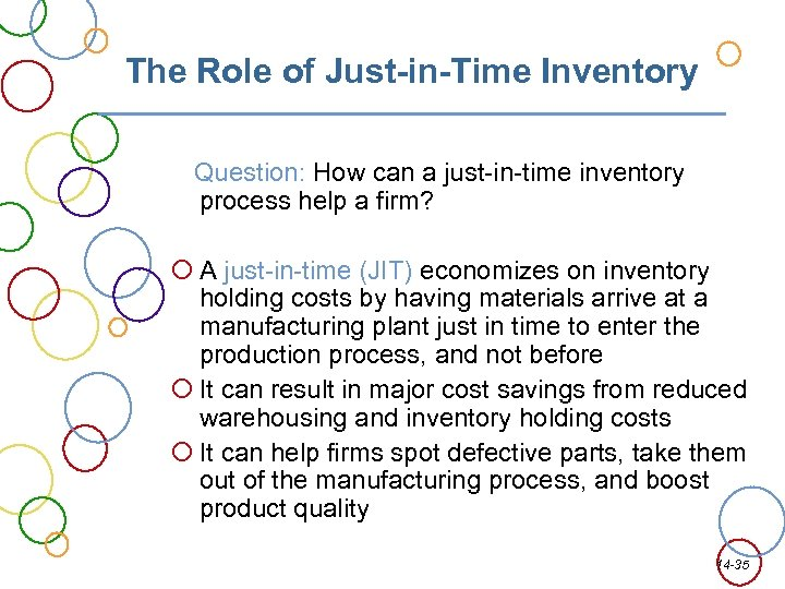The Role of Just-in-Time Inventory Question: How can a just-in-time inventory process help a