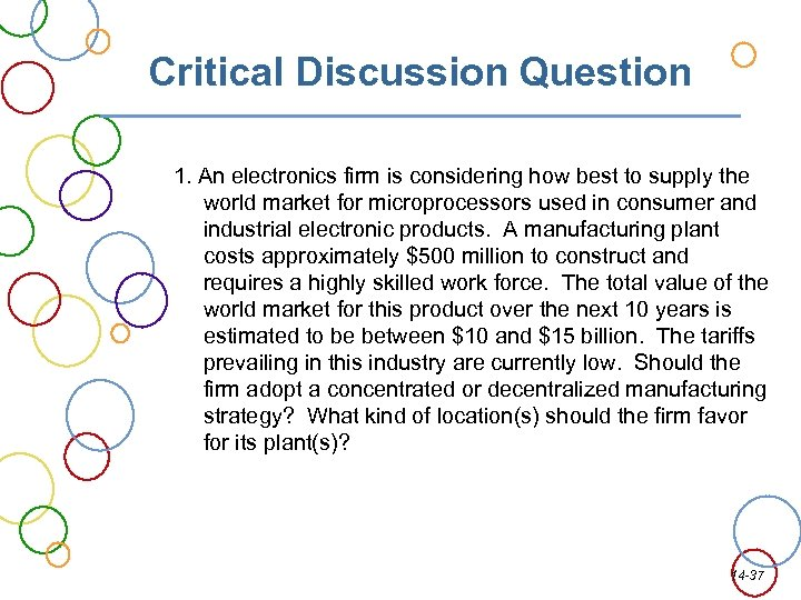 Critical Discussion Question 1. An electronics firm is considering how best to supply the