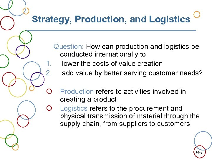 Strategy, Production, and Logistics Question: How can production and logistics be conducted internationally to