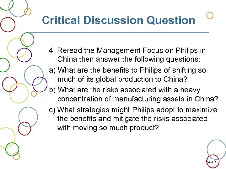 Critical Discussion Question 4. Reread the Management Focus on Philips in China then answer