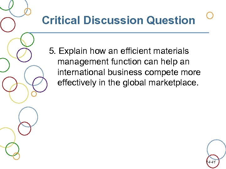 Critical Discussion Question 5. Explain how an efficient materials management function can help an