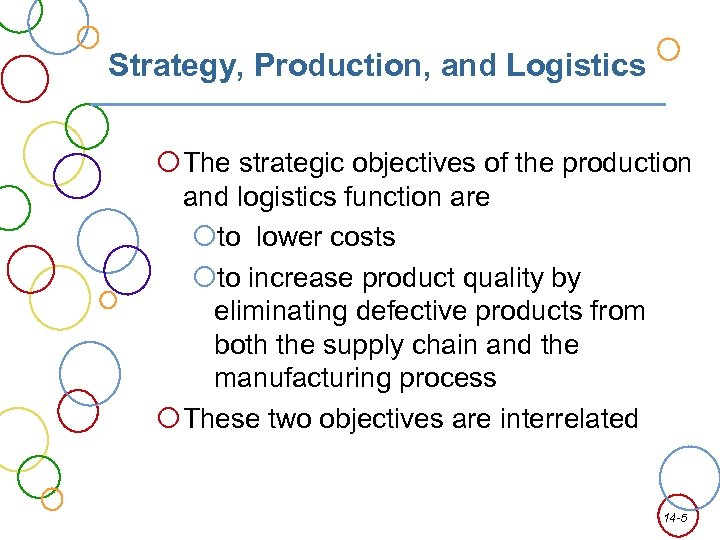 Strategy, Production, and Logistics The strategic objectives of the production and logistics function are
