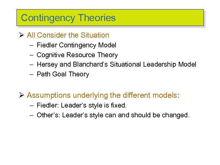 contingency and situational leadership
