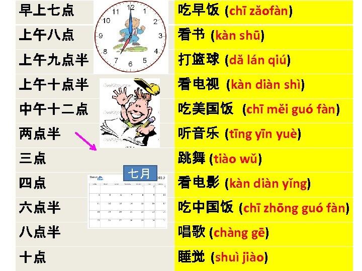 早上七点 吃早饭 (chī zǎofàn) 上午八点 看书 (kàn shū) 上午九点半 打篮球 (dǎ lán qiú) 上午十点半