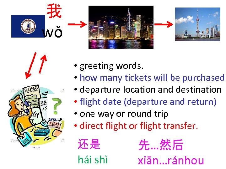 我 wǒ • greeting words. • how many tickets will be purchased • departure