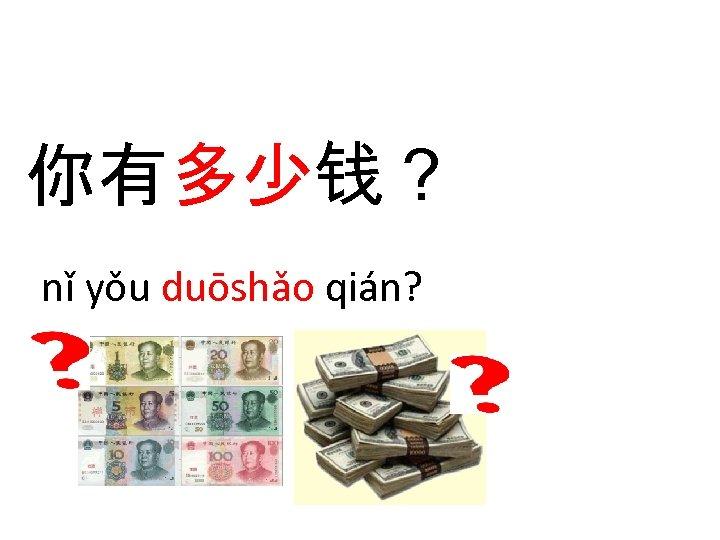 你有多少钱? nǐ yǒu duōshǎo qián?