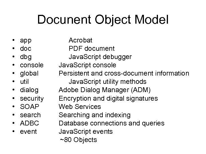 Docunent Object Model • app Acrobat • doc PDF document • dbg Java. Script