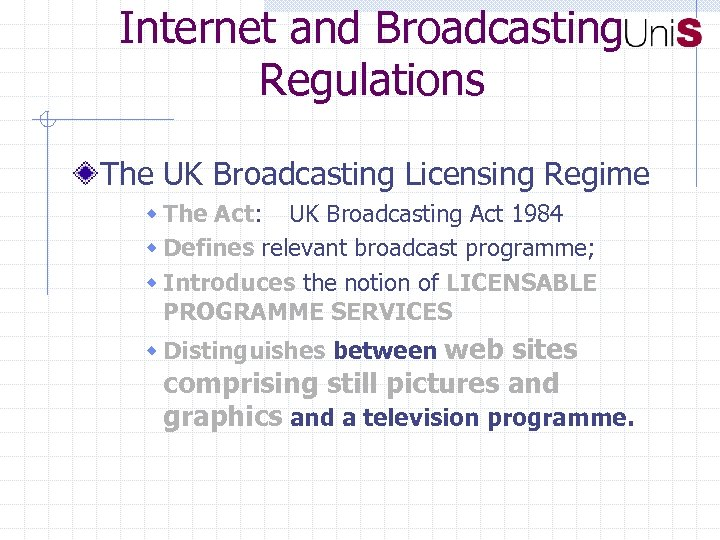an introduction to the boradcast regulation and licences In contrast to the broadcasting act, the communications act introduced sweeping regulations for example, the act made it illegal to steal your neighbor's wi-fi connection, or to stalk and harass people online the communications act expanded requirements for uk broadcasters to provide 'television.