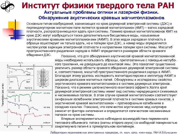 Институт физики твердого тела РАН Актуальные проблемы оптики и лазерной физики. Обнаружение акустических краевых