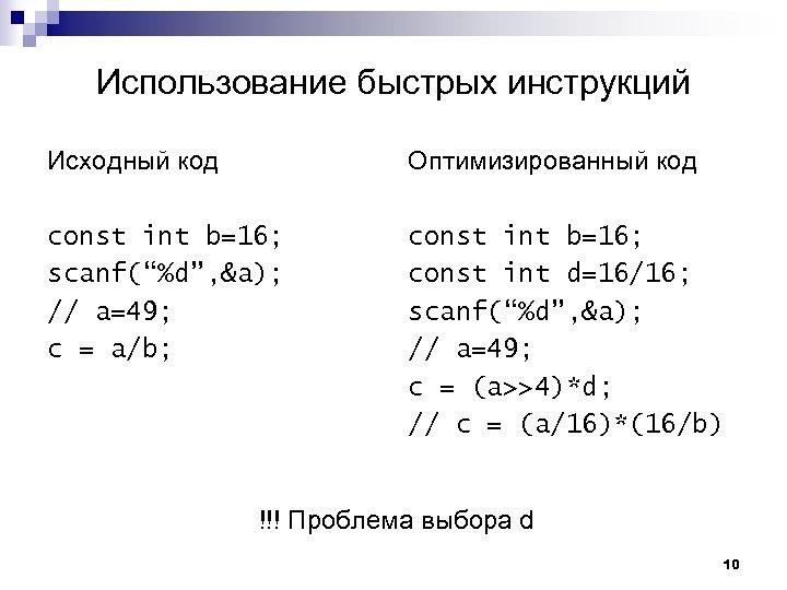 """Использование быстрых инструкций Исходный код Оптимизированный код const int b=16; scanf(""""%d"""", &a); // a=49;"""