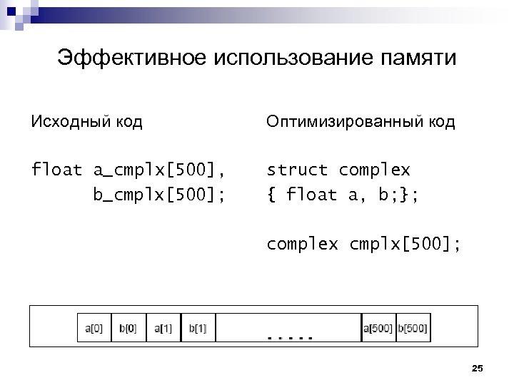 Эффективное использование памяти Исходный код Оптимизированный код float a_cmplx[500], b_cmplx[500]; struct complex { float