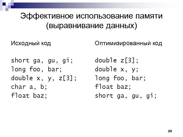 Эффективное использование памяти (выравнивание данных) Исходный код Оптимизированный код short ga, gu, gi; long