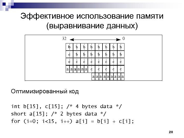 Эффективное использование памяти (выравнивание данных) Оптимизированный код int b[15], c[15]; /* 4 bytes data