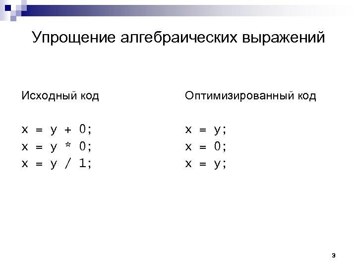 Упрощение алгебраических выражений Исходный код Оптимизированный код x = y + 0; x =