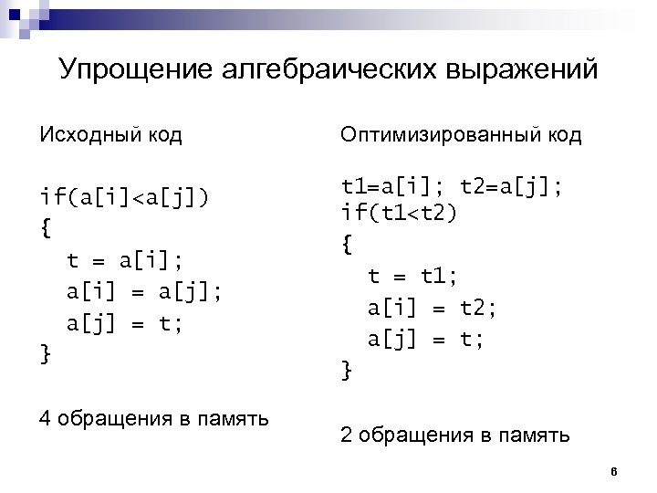 Упрощение алгебраических выражений Исходный код Оптимизированный код if(a[i]<a[j]) { t = a[i]; a[i] =