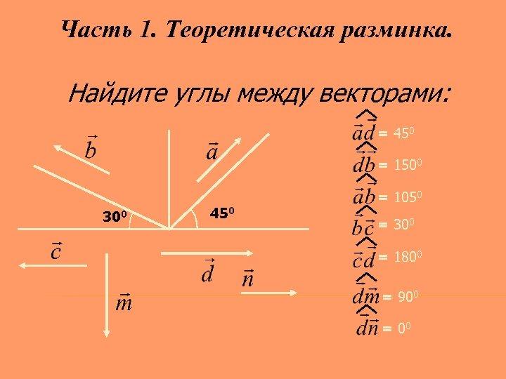 Часть 1. Теоретическая разминка. Найдите углы между векторами: = 450 = 1500 300 450