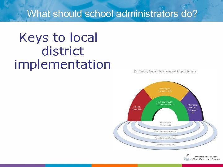 What should school administrators do? Keys to local district implementation