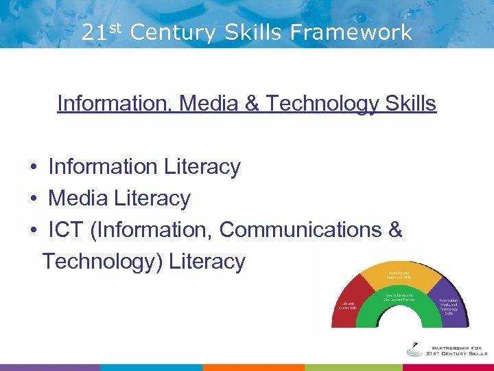 21 st Century Skills Framework Information, Media & Technology Skills • Information Literacy •