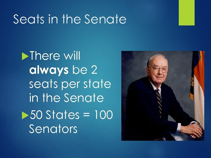 Seats in the Senate There will always be 2 seats per state in the