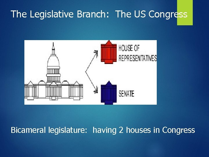 The Legislative Branch: The US Congress Bicameral legislature: having 2 houses in Congress