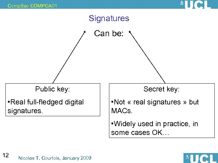 Comp. Sec COMPGA 01 Signatures Can be: Public key: • Real full-fledged digital signatures.