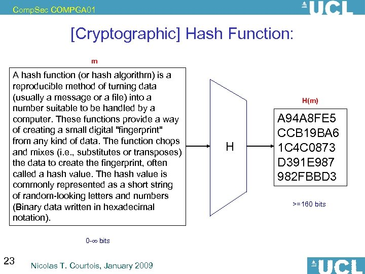Comp. Sec COMPGA 01 [Cryptographic] Hash Function: m A hash function (or hash algorithm)