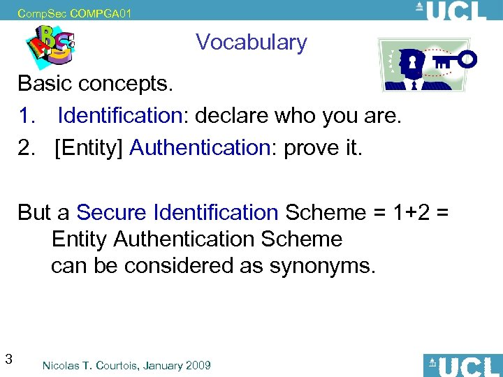 Comp. Sec COMPGA 01 Vocabulary Basic concepts. 1. Identification: declare who you are. 2.