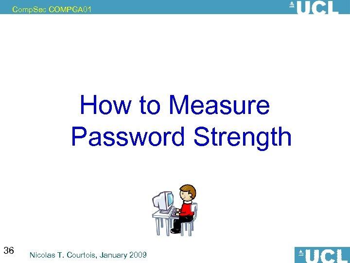 Comp. Sec COMPGA 01 How to Measure Password Strength 36 Nicolas T. Courtois, January