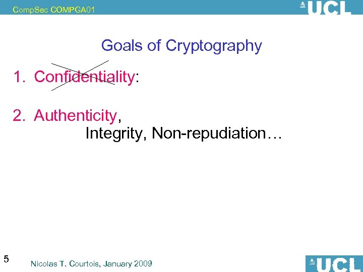 Comp. Sec COMPGA 01 Goals of Cryptography 1. Confidentiality: privacy, anonymity or pseudonymity. 2.