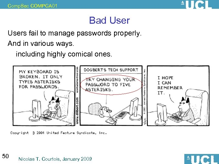 Comp. Sec COMPGA 01 Bad Users fail to manage passwords properly. And in various