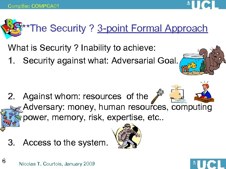 Comp. Sec COMPGA 01 ***The Security ? 3 -point Formal Approach What is Security