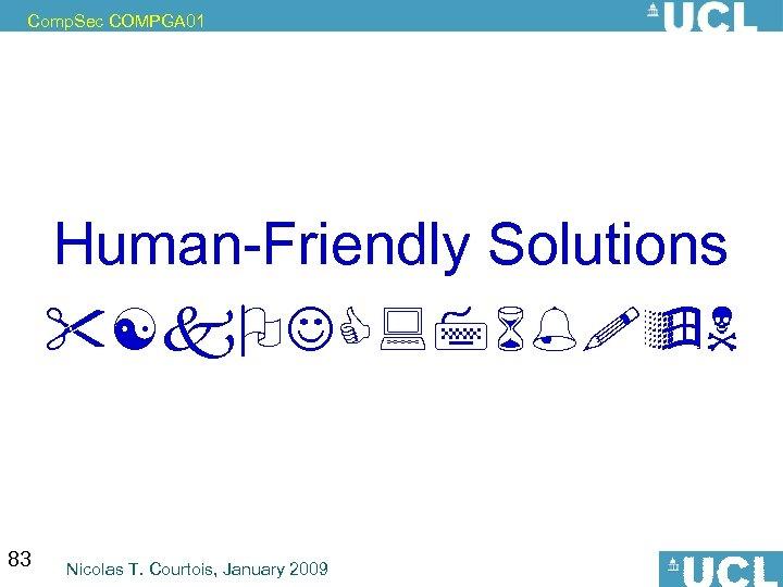 Comp. Sec COMPGA 01 Human-Friendly Solutions 83 Nicolas T. Courtois, January 2009