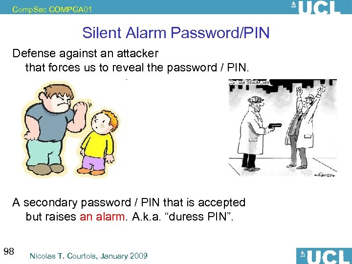 Comp. Sec COMPGA 01 Silent Alarm Password/PIN Defense against an attacker that forces us