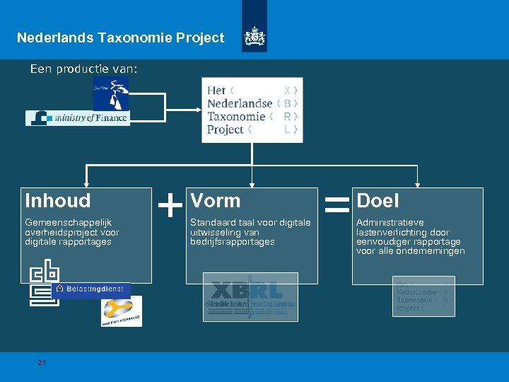 Nederlands Taxonomie Project Een productie van: Inhoud Gemeenschappelijk overheidsproject voor digitale rapportages 21 +