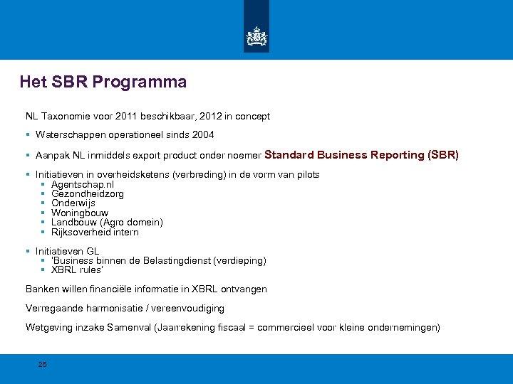 Het SBR Programma NL Taxonomie voor 2011 beschikbaar, 2012 in concept § Waterschappen operationeel