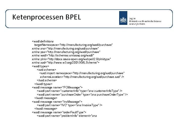 Ketenprocessen BPEL <wsdl: definitions target. Namespace=
